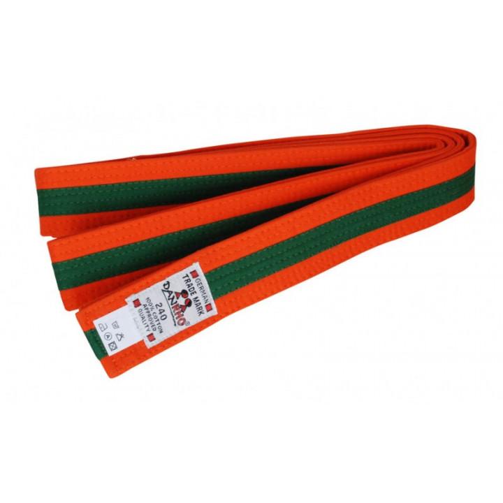 Пояс Judo Двухцветный Danhro 4,5cm  оранжево-зеленый