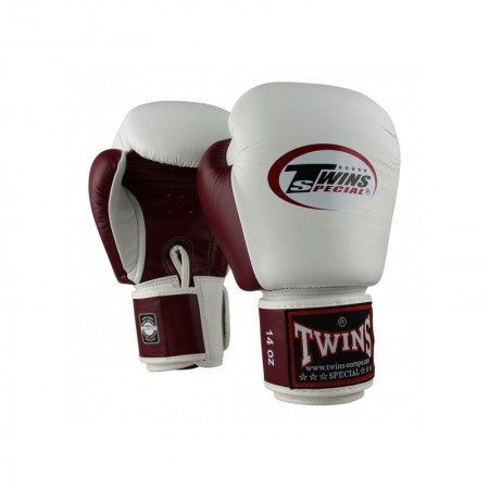 Twins Перчатки Боксёрские BGVL-3 Бело/Вишневые