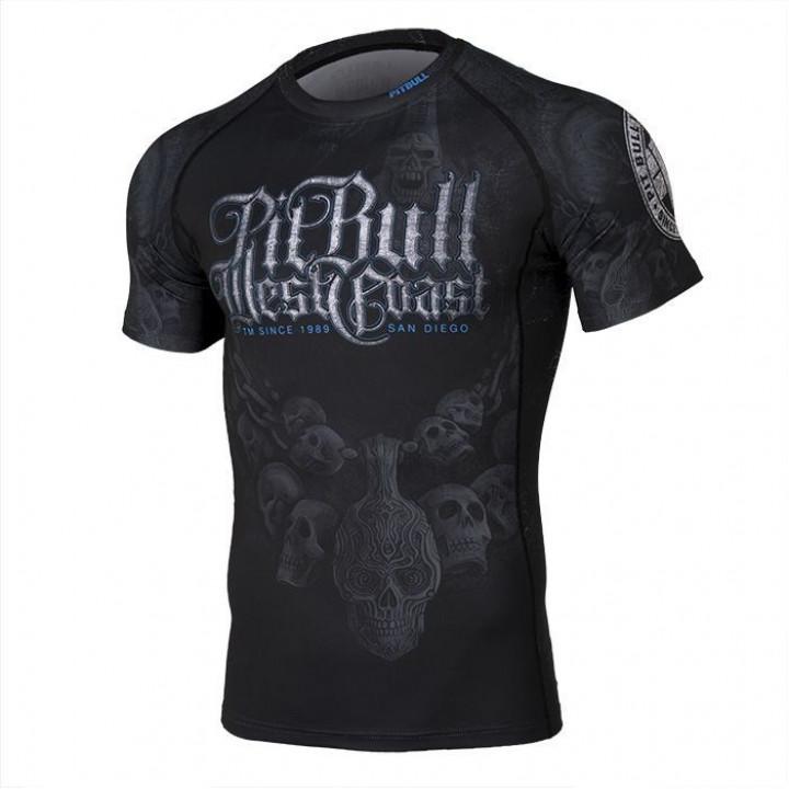 Pit Bull Рашгард Skull Dog 19 Короткий Рукав Черный