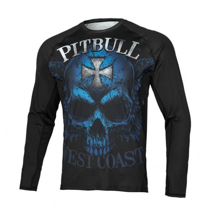 Pitbull Рашгард с Длинным Рукавом Mesh Performance Pro Plus Blue Skull