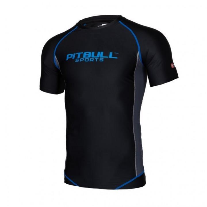 Pitbull Рашгард с Коротким Рукавом Compression Pro Plus Чёрный/Синий
