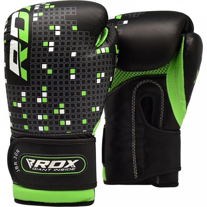 RDX Перчатки для бокса детские J-3 Черное/Зеленые