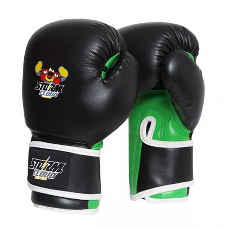 StormCloud Перчатки боксерские детские Fighter Черно/Зеленые
