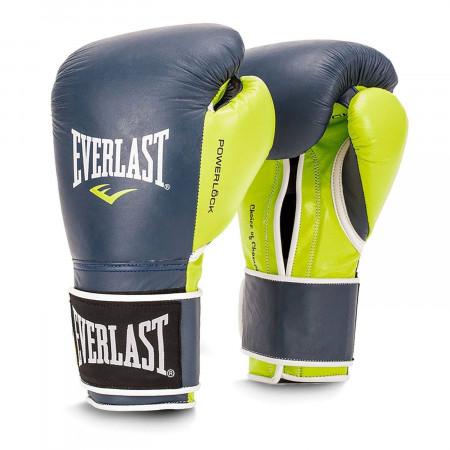Боксерские перчатки Powerlock PU от Everlast сине-зеленые