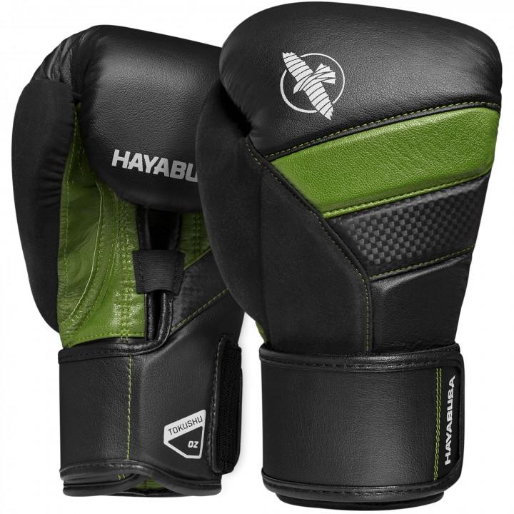 Боксерские перчатки Hayabusa T3 черно-зеленые